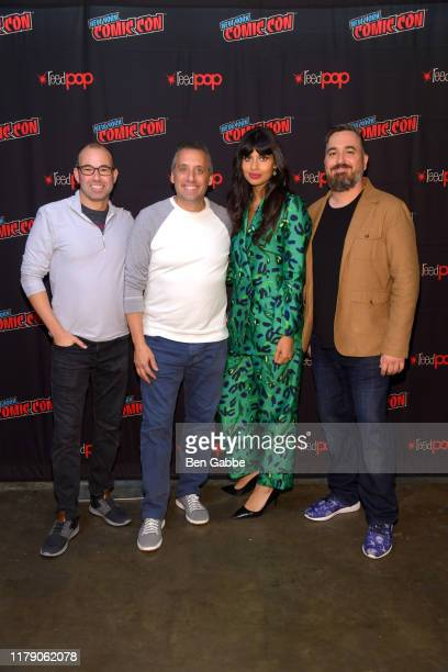 James Murray Joseph Gatto Jameela Jamil and Brian Q Quinn attend the Impractical Jokers From Staten Island to the Misery Index and Beyond Panel at...