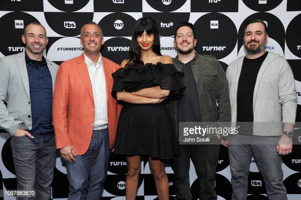 James Murray Sal Vulcano Jameela Jamil Joseph Gatto and Brian Quinn of the television show 'The Misery Index' pose in the green room during the TCA...
