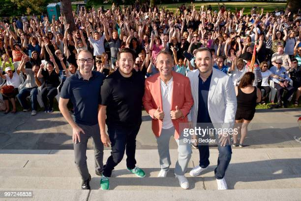 James Murray Sal Vulcano Joe Gatto and Brian Quinn attend the opening event for the Impractical Jokers Homecoming Exhibit a celebration of the hit...