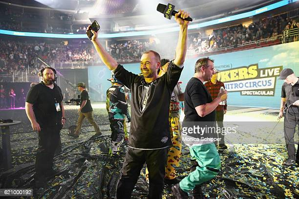 James Murray speaks during the Impractical Jokers Live Nitro Circus Spectacular at Prudential Center on November 3 2016 in Newark New Jersey...