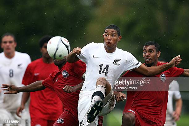 James Musa of New Zealand kicks the ball through during the Oceania Under 20 Tournament match between New Zealand and Caledonia at Centre Park on...