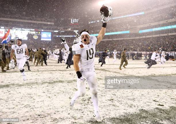James Nachtigal of the Army Black Knights celebrates the win over the Navy Midshipmen on December 9 2017 at Lincoln Financial Field in Philadelphia...