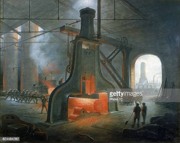 James Nasmyth's steam hammer erected in his foundry near Manchester in 1832 Painting by Nasmyth