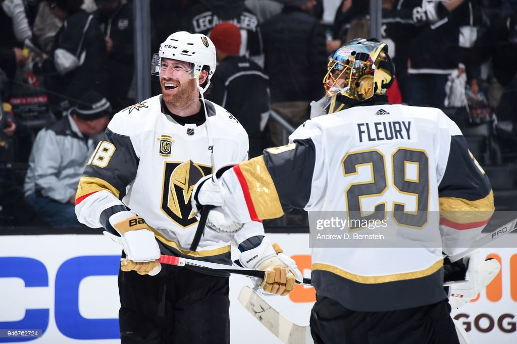 James Neal #18 and Marc-Andre Fleury #29 of the Vegas Golden Knights celebrate a victory over the Los Angeles Kings in Game Three of the Western Conference First Round during the 2018 NHL Stanley Cup Playoffs at STAPLES Center on April 15, 2018 in Los Angeles, California.