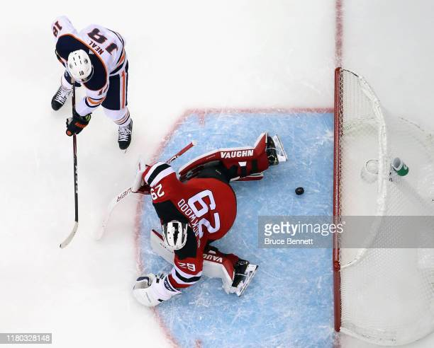 James Neal of the Edmonton Oilers celebrates his goal against Mackenzie Blackwood of the New Jersey Devils at the Prudential Center on October 10...