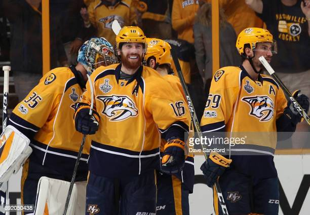 James Neal of the Nashville Predators celebrates after his team defeated the Pittsburgh Penguins 51 in Game Three of the 2017 NHL Stanley Cup Final...
