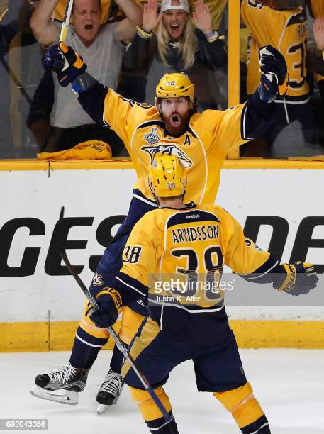 James Neal of the Nashville Predators celebrates after scoring a second period goal against Matt Murray of the Pittsburgh Penguins in Game Three of...