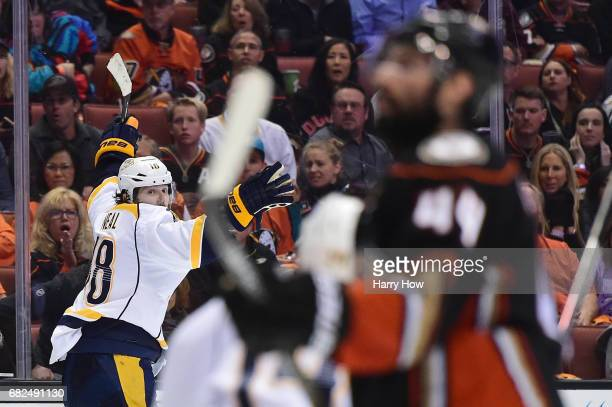 James Neal of the Nashville Predators celebrates after scoring the gamewinning goal in the first overtime period of Game One of the Western...