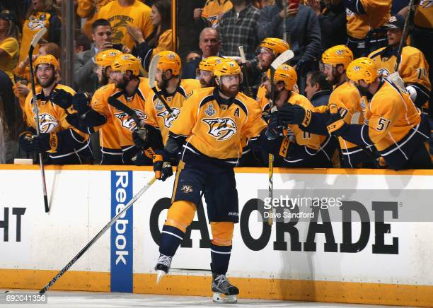 James Neal of the Nashville Predators celebrates his goal with teammates during the second period of Game Three of the 2017 NHL Stanley Cup Final...