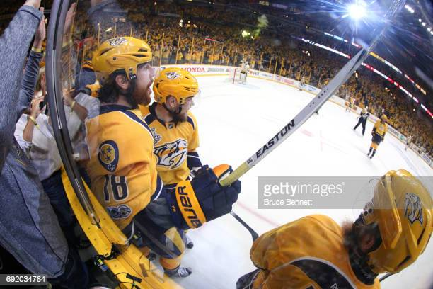 James Neal of the Nashville Predators celebrates with his teammates after scoring a second period goal against Matt Murray of the Pittsburgh Penguins...