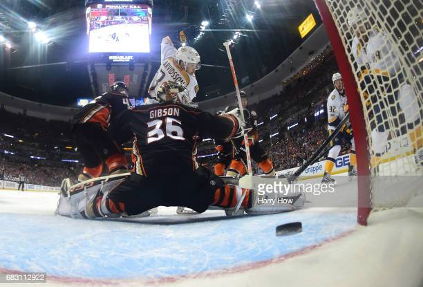 James Neal of the Nashville Predators scores a backhander past oaltender John Gibson of the Anaheim Ducks in the first period of Game Two of the...