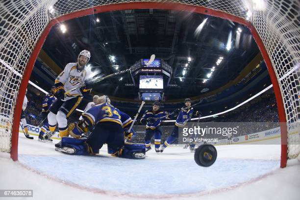 James Neal of the Nashville Predators scores a goal against Jake Allen of the St. Louis Blues in Game Two of the Western Conference Second Round...