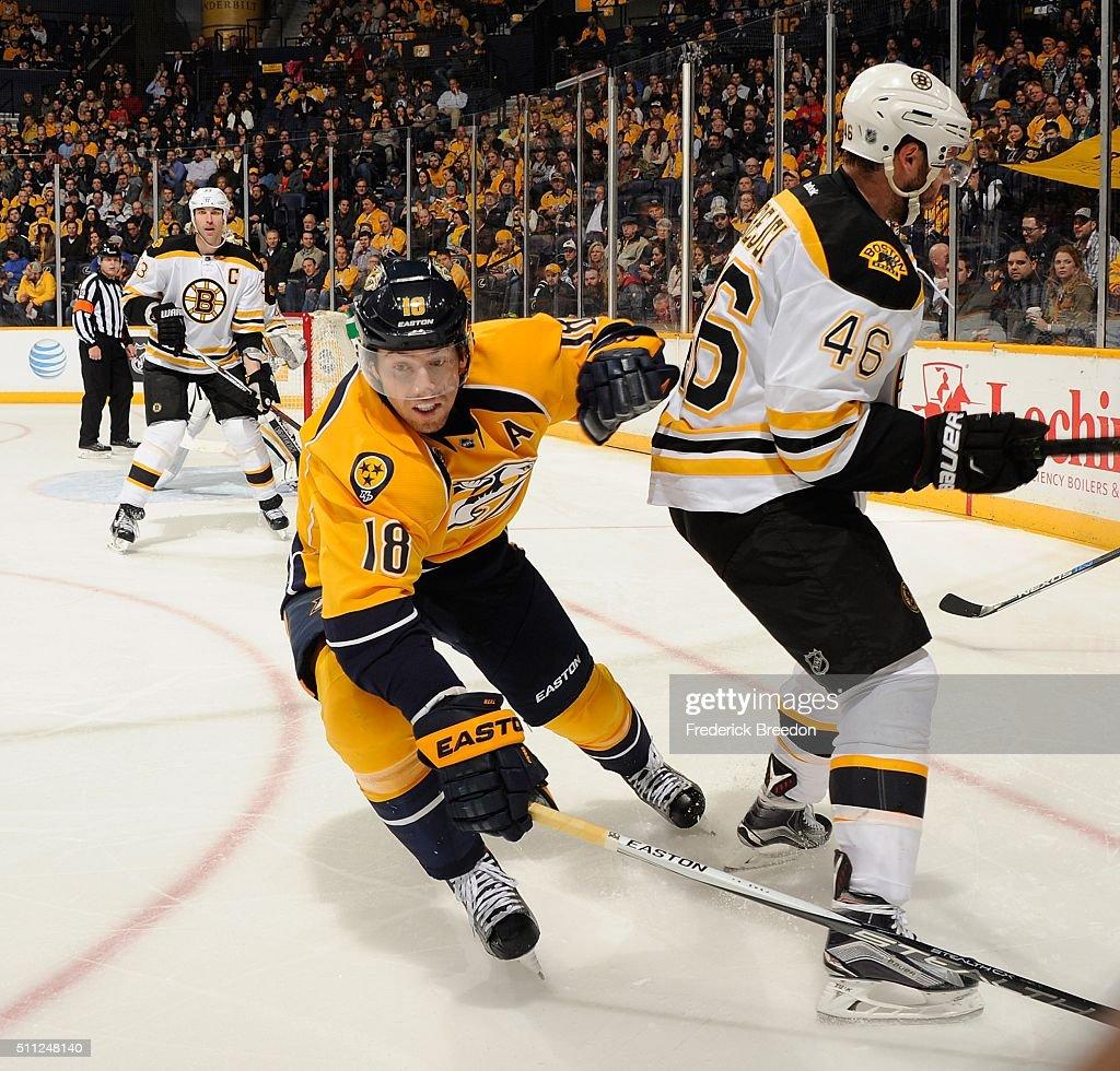 James Neal #18 of the Nashville Predators skates against David Krejci #46 of the Boston Bruinsduring the third period at Bridgestone Arena on February 18, 2016 in Nashville, Tennessee.