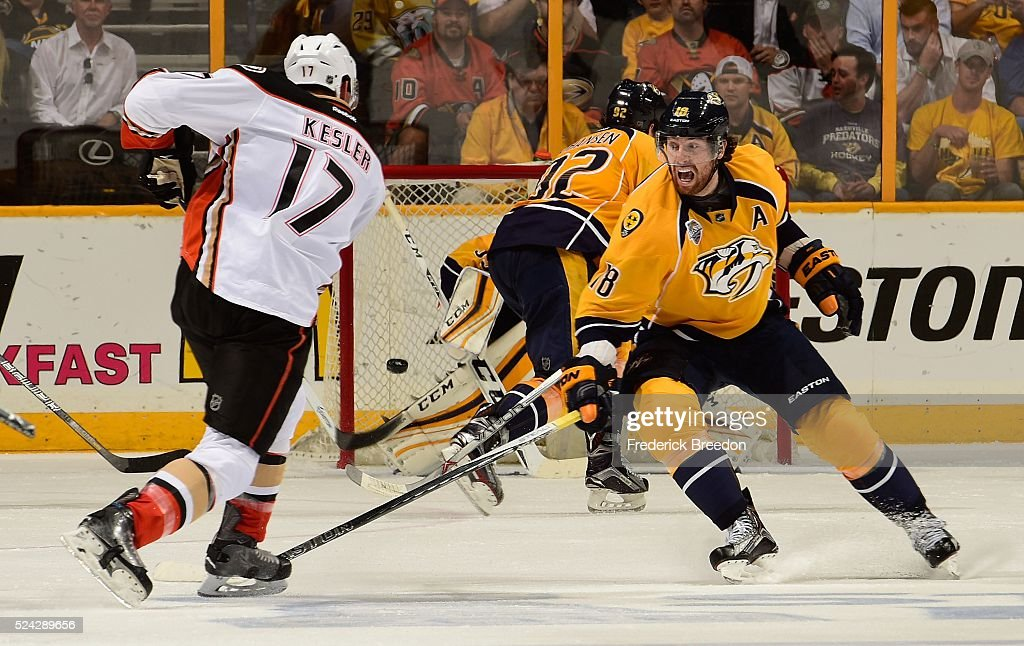 James Neal #18 of the Nashville Predators tries to block a shot by Ryan Kesler #17 of the Anaheim Ducks during the third period in Game Six of the Western Conference First Round during the 2016 NHL Stanley Cup Playoffs at Bridgestone Arena on April 25, 2016 in Nashville, Tennessee.