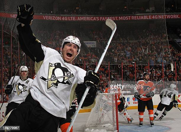 James Neal of the Pittsburgh Penguins celebrates his 30th goal of the season against the Philadelphia Flyers at the Wells Fargo Center on February 18...