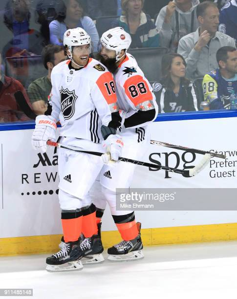 R} James Neal of the Vegas Golden Knights and Brent Burns of the San Jose Sharks react during the second half 2018 Honda NHL AllStar Game between the...