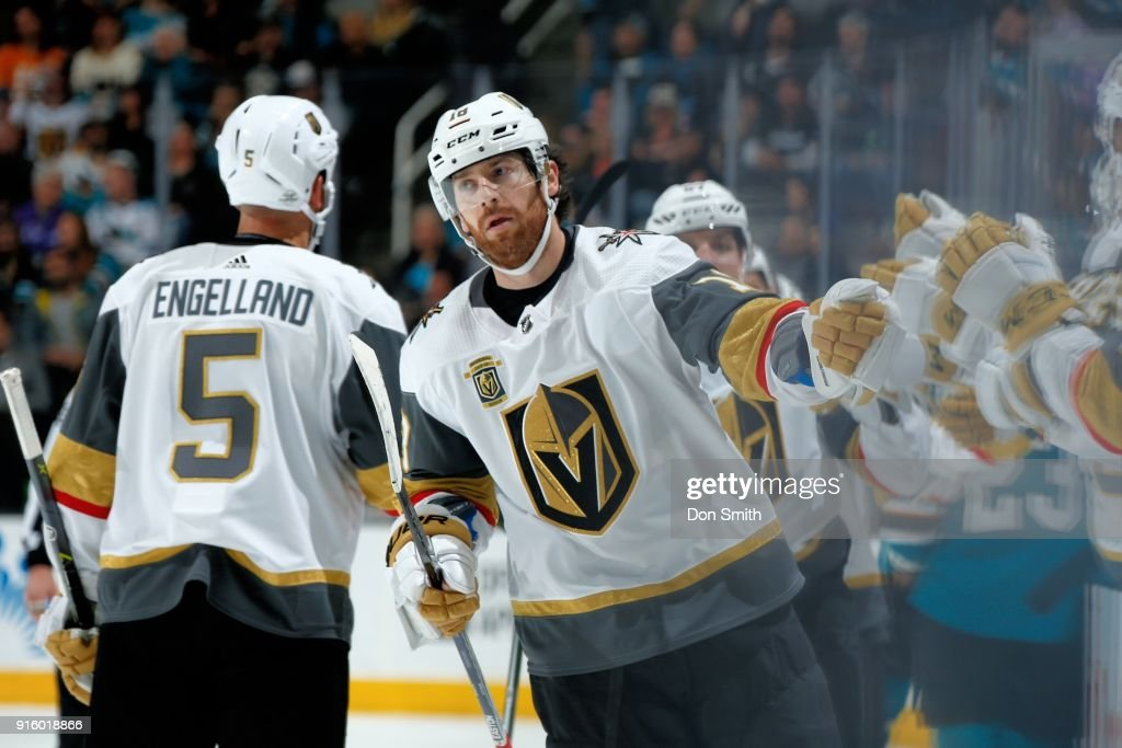 James Neal #18 of the Vegas Golden Knights celebrates his goal in the third period against the San Jose Sharks with teammates at SAP Center on February 8, 2018 in San Jose, California.
