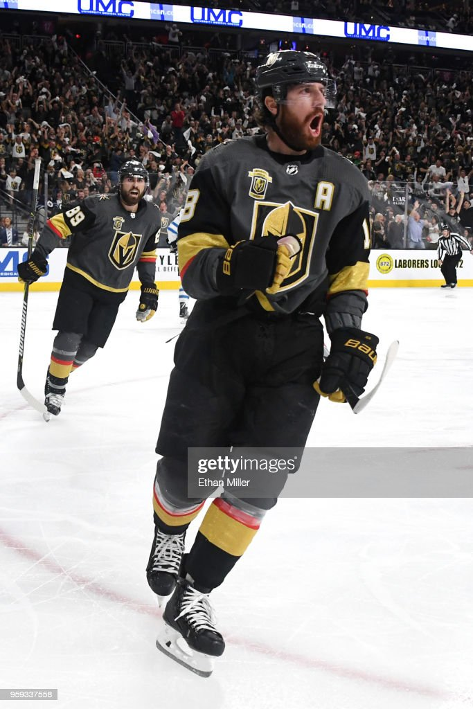 James Neal #18 of the Vegas Golden Knights celebrates his second-period goal against the Winnipeg Jets in Game Three of the Western Conference Finals during the 2018 NHL Stanley Cup Playoffs at T-Mobile Arena on May 16, 2018 in Las Vegas, Nevada.