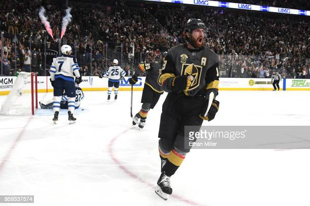 James Neal of the Vegas Golden Knights celebrates his secondperiod goal against the Winnipeg Jets in Game Three of the Western Conference Finals...