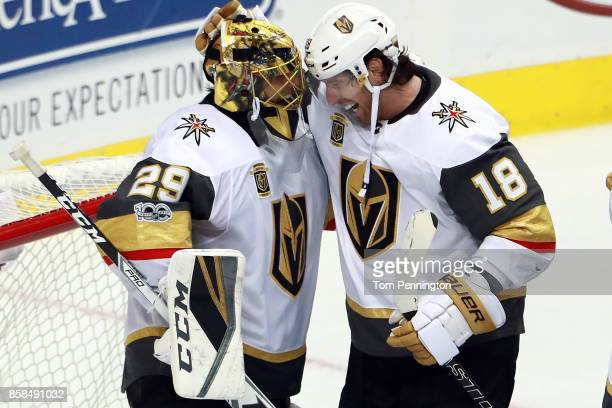 James Neal of the Vegas Golden Knights celebrates with MarcAndre Fleury of the Vegas Golden Knights after the Vegas Golden Knights beat the Dallas...