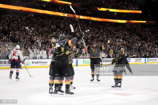 James Neal of the Vegas Golden Knights is congratulated by his teammates after scoring a firstperiod goal against the Washington Capitals in Game Two...