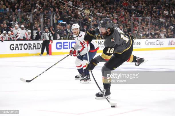 James Neal of the Vegas Golden Knights scores a firstperiod goal against the Washington Capitals in Game Two of the 2018 NHL Stanley Cup Final at...