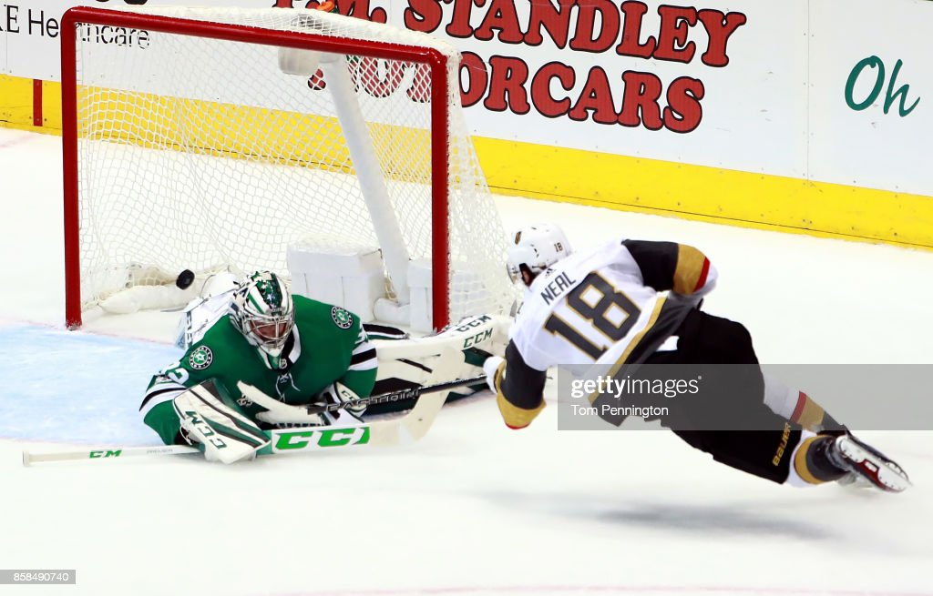 James Neal #18 of the Vegas Golden Knights scores a goal against Kari Lehtonen #32 of the Dallas Stars in the third period at American Airlines Center on October 6, 2017 in Dallas, Texas.