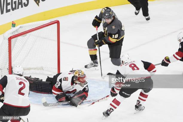 James Neal of the Vegas Golden Knights scores a goal against Luke Schenn Louis Domingue and Tobias Rieder of the Arizona Coyotes during the Golden...