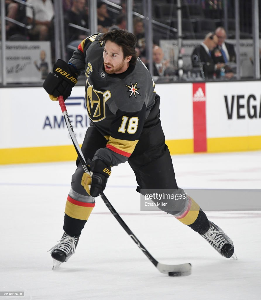 James Neal #18 of the Vegas Golden Knights shoots during warmups before the team's game against the Boston Bruins at T-Mobile Arena on October 15, 2017 in Las Vegas, Nevada. The Golden Knights won 3-1.
