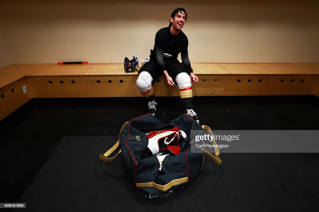 James Neal #18 of the Vegas Golden Knights sits in the locker room after scoring two goals to beat the Dallas Stars 2-1 at American Airlines Center on October 6, 2017 in Dallas, Texas.