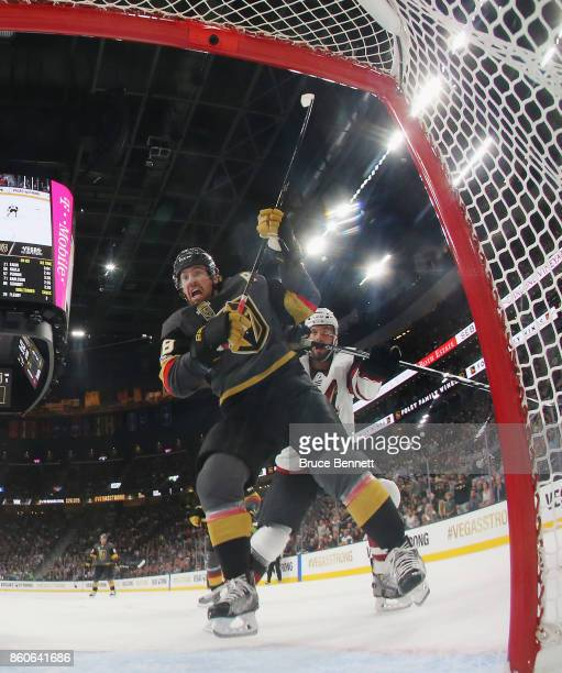 James Neal of the Vegas Golden Knights skates against the Arizona Coyotes during the Golden Knights' inaugural regularseason home opener at TMobile...