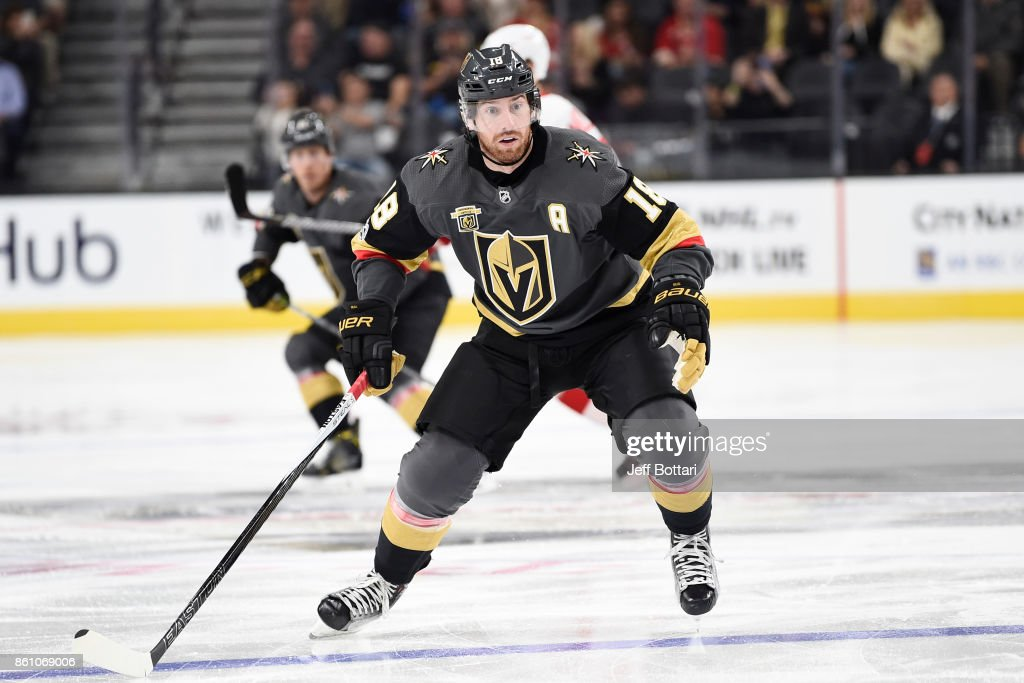 James Neal #18 of the Vegas Golden Knights skates against the Detroit Red Wings during the game at T-Mobile Arena on October 13, 2017 in Las Vegas, Nevada.