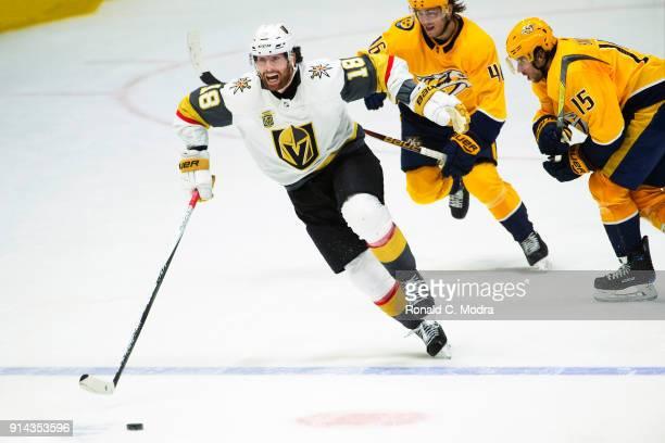 James Neal of the Vegas Golden Knights skates against the Nashville Predators during a NHL game at Bridgestone Arena on January 16 2018 in Nashville...