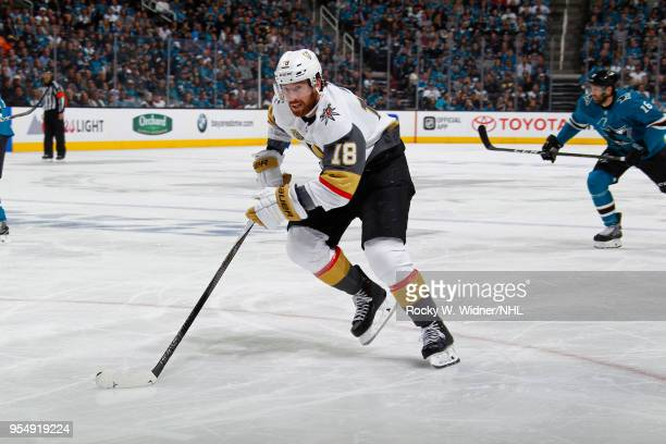 James Neal of the Vegas Golden Knights skates with the puck against the San Jose Sharks in Game Three of the Western Conference Second Round during...