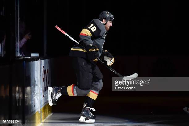 James Neal of the Vegas Golden Knights steps onto the ice during introductions prior to the game against the Minnesota Wild at TMobile Arena on March...