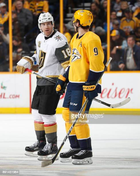 James Neal of the Vegas Golden Knights talks with former teammate Filip Forsberg of the Nashville Predators during an NHL game at Bridgestone Arena...