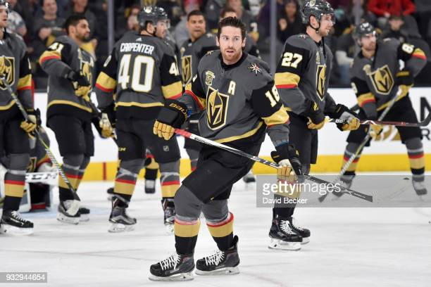 James Neal of the Vegas Golden Knights warms up prior to the game against the Minnesota Wild at TMobile Arena on March 16 2018 in Las Vegas Nevada