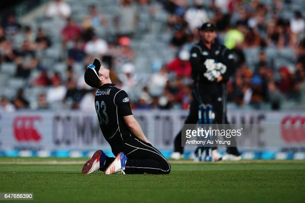 James Neesham of New Zealand reacts during game five of the One Day International series between New Zealand and South Africa at Eden Park on March 4...