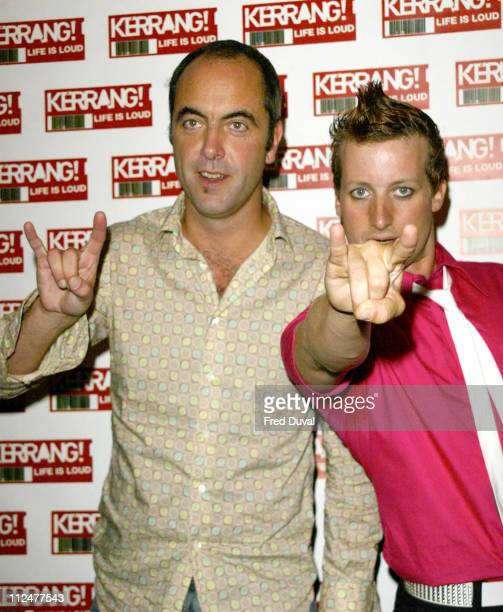 James Nesbitt and band member from Green Day during Kerrang Awards 2004 Press Conference in London United Kingdom