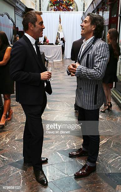 James Nesbitt and Stephen Webster attend the summer dinner hosted by Harrys of London and Mr Porter at Burlington Arcade on July 8 2015 in London...