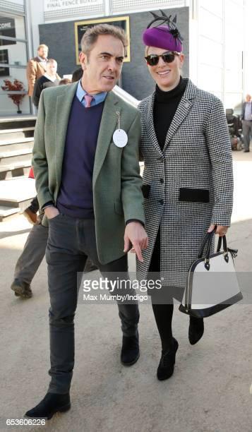 James Nesbitt and Zara Phillips attend day 2 'Ladies Day' of the Cheltenham Festival at Cheltenham Racecourse on March 15 2017 in Cheltenham England