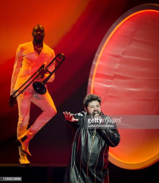 James Newman from the United Kingdom performs with the song 'Embers' during the dress rehearsal of the final of the Eurovision Song Contest in...