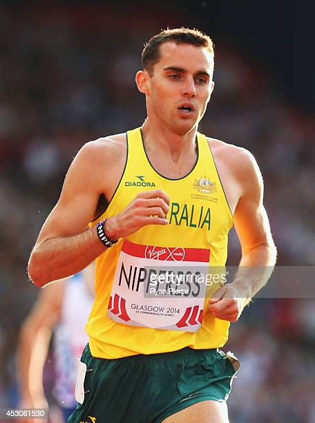 James Nipperess of Australia competes in the Men's 3000 metres Steeplechase final at Hampden Park during day nine of the Glasgow 2014 Commonwealth...