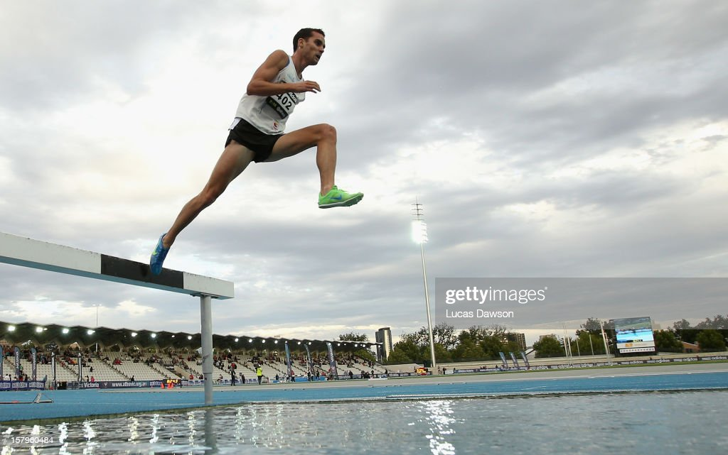James Nipperess of NSW competes in the Mens 3000 Steeplechase Open during the Zatopek Classic at Lakeside Stadium on December 8, 2012 in Melbourne, Australia.