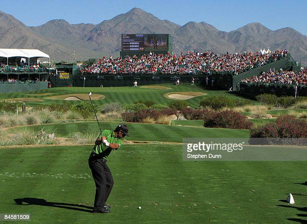 James Nitties of Australia hits his tee shot on the 16th hole during the final round of the FBR Open on February 1 2009 at TPC Scottsdale in...