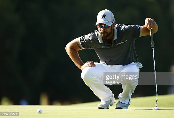 James Nitties of Australia lines up a putt on the 8th green during day two of the Australian Open at Royal Sydney Golf Club on November 18 2016 in...