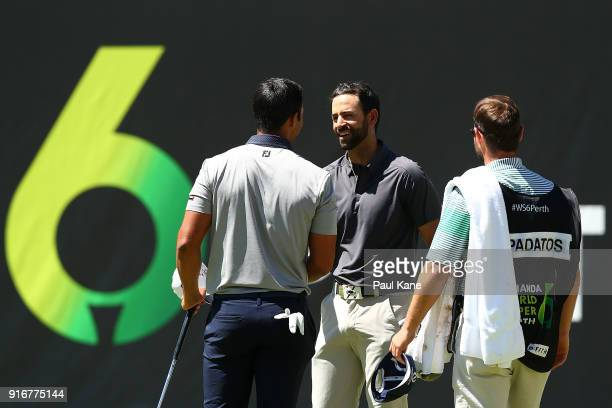 James Nitties of Australia shakes hands with Dimitrios Papadatos of Australia after winning the round two match during day four of the World Super 6...