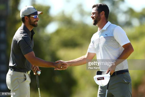 James Nitties of Australia shakes hands with Nick Cullen of Australia after finning their rmatch 4 round during day four of the World Super 6 at Lake...