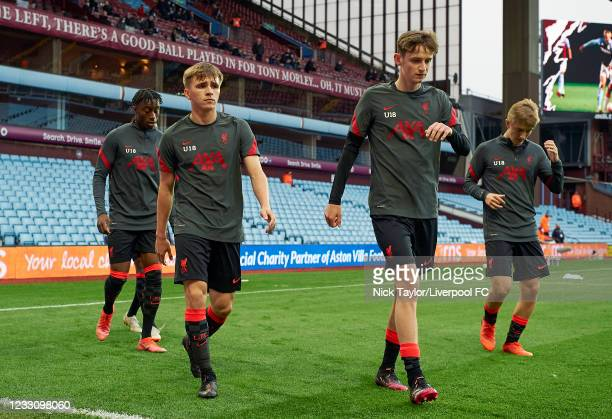 James Norris and Tyler Morton of Liverpool during the warm-up before the FA Youth Cup Final at Villa Park on May 24, 2021 in Birmingham, England.