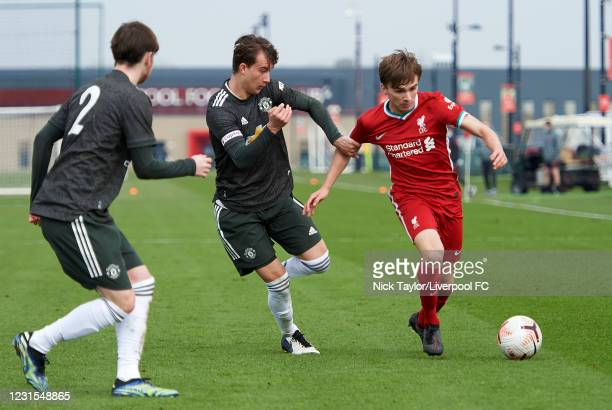 James Norris of Liverpool and Martin Svidersky of Manchester United in action during the U18 Premier League game between Liverpool and Manchester...